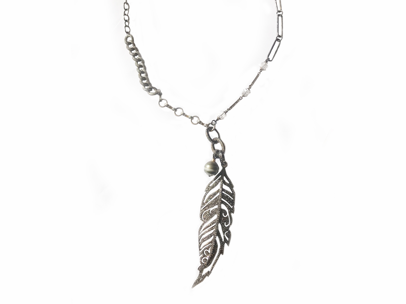 Diamond Feather Pearl Necklace