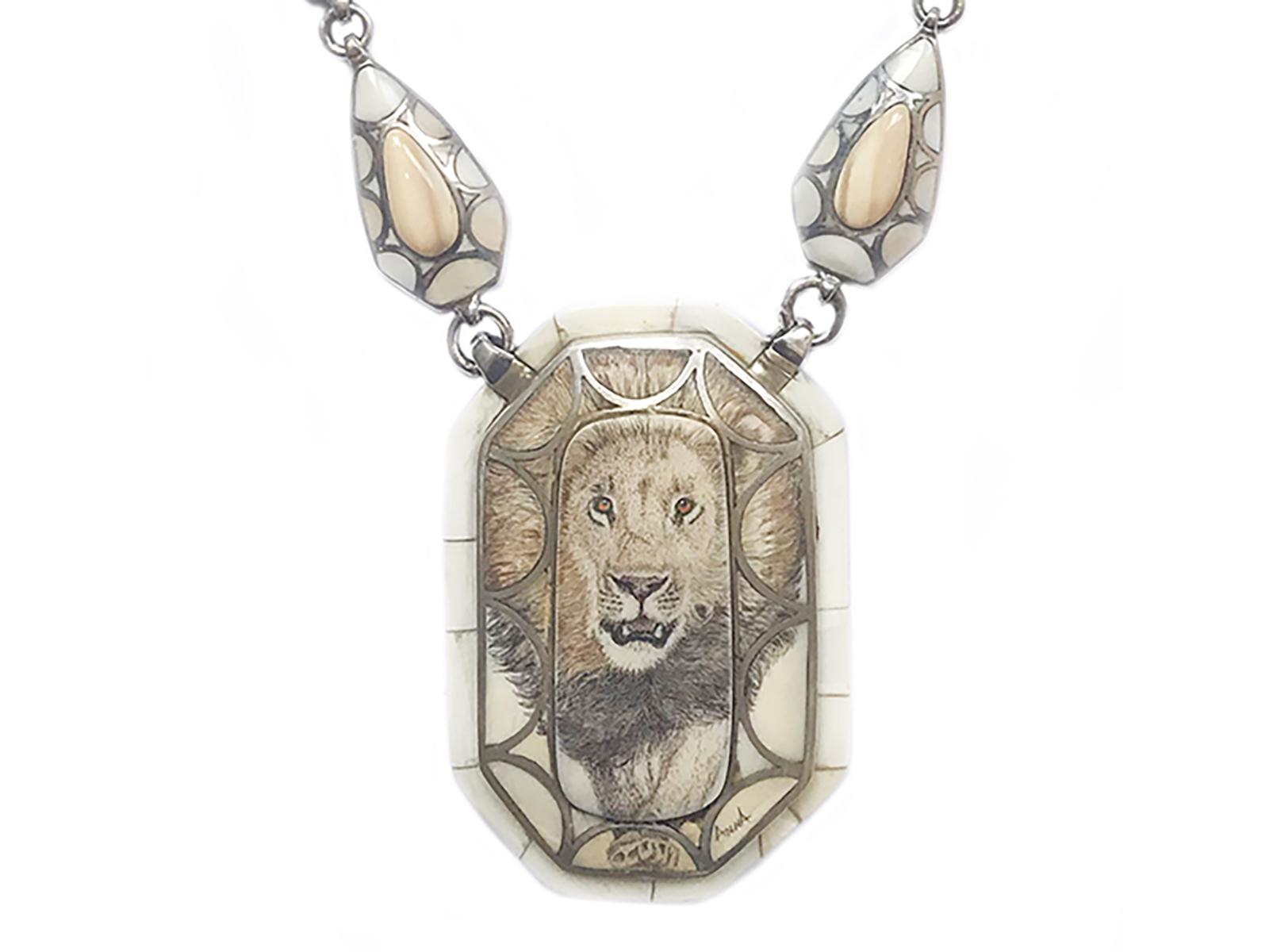 One of a Kind Scrimshaw Lion Necklace