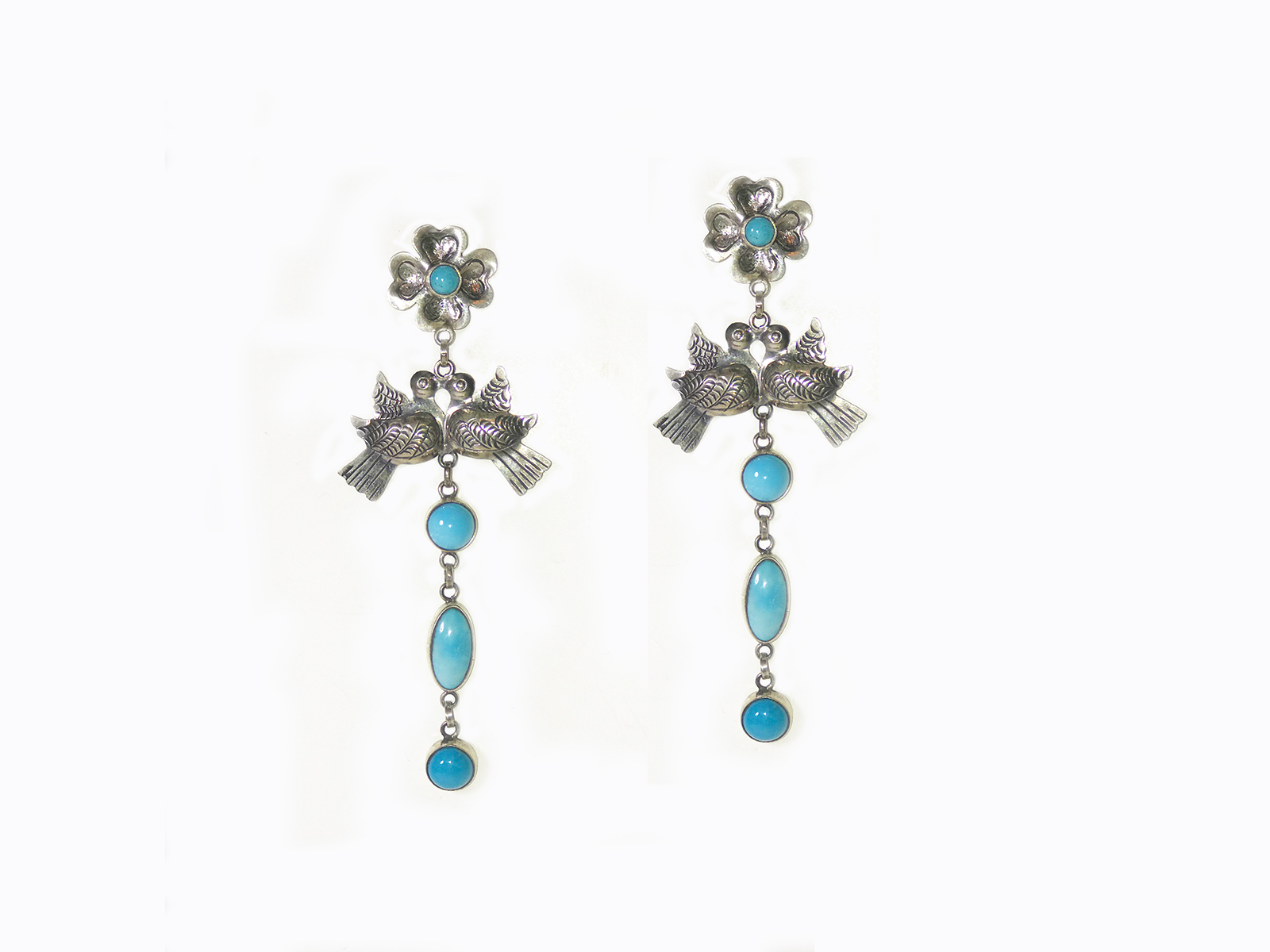 Kingman Turquoise Flower Love Bird Earrings