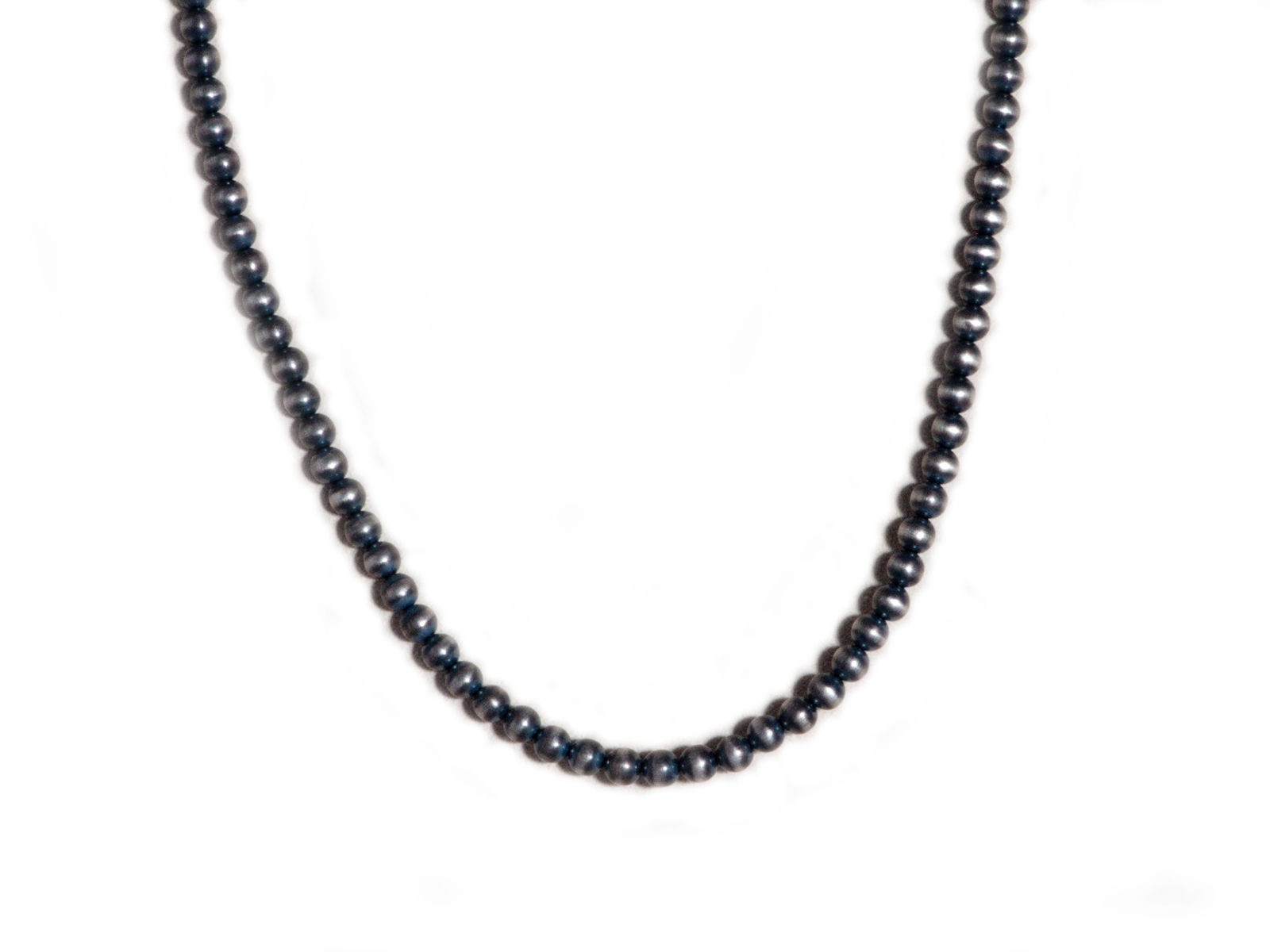 "5mm Oxidized Sterling Silver Beaded 24"" Necklace"