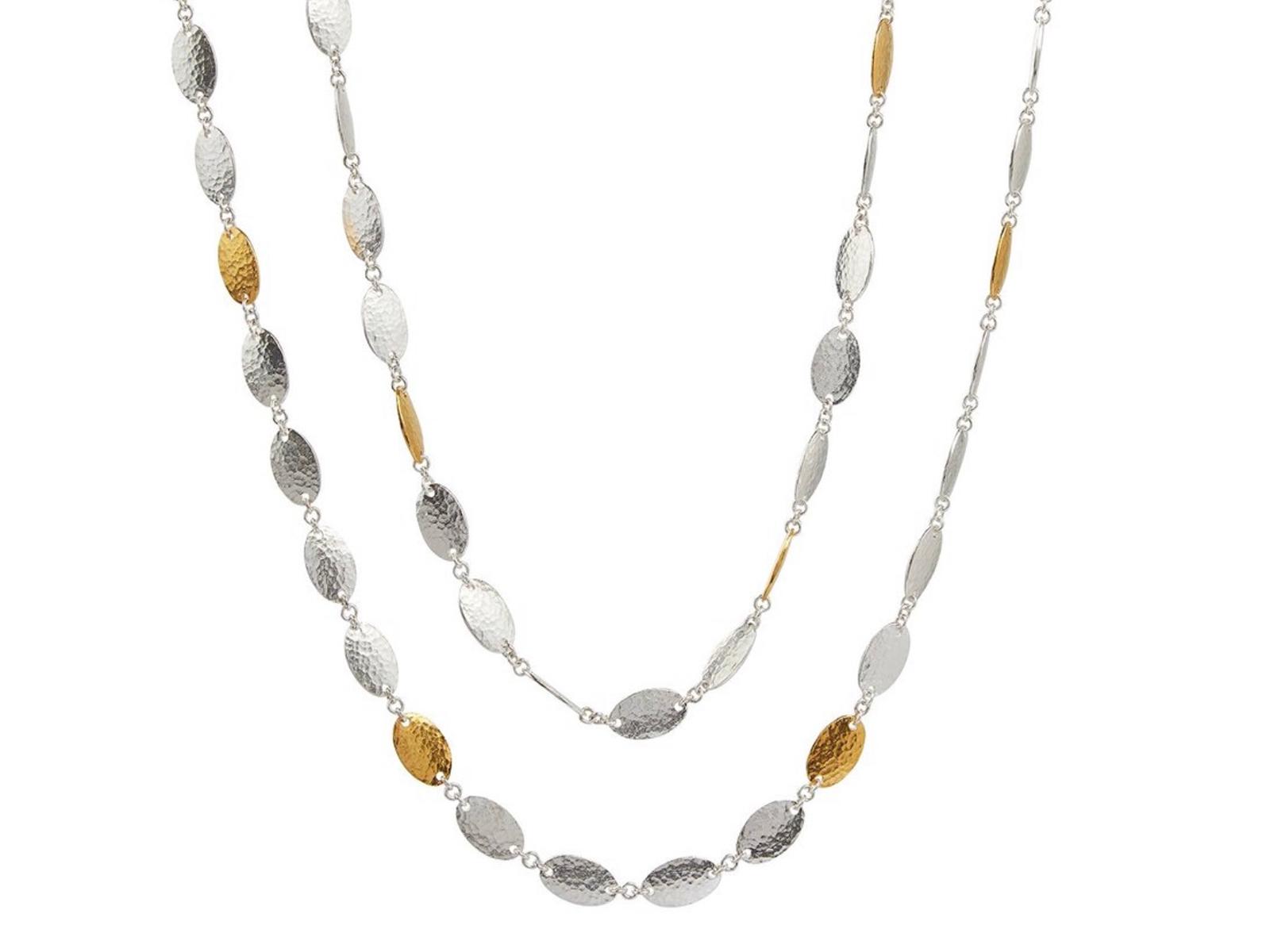 "Mango Silver Necklace 36"" Strand"