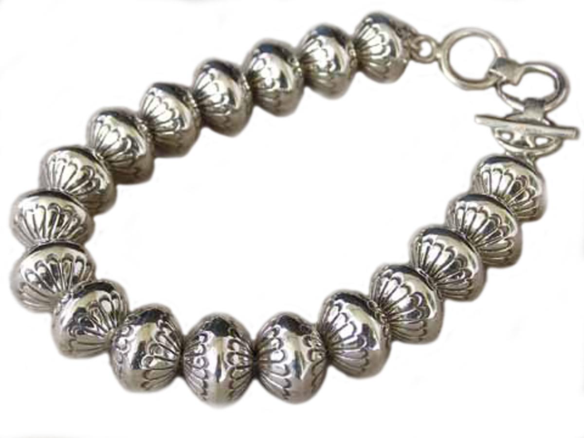 Silver Stamped Navajo Pearl Bracelet