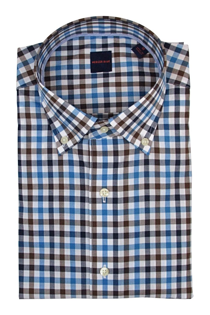 Mercer Blue Raleigh Multi Check Dress Shirt
