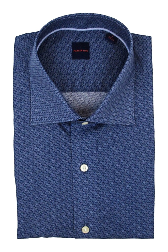 Mercer Blue Sprockets Print Dress Shirt