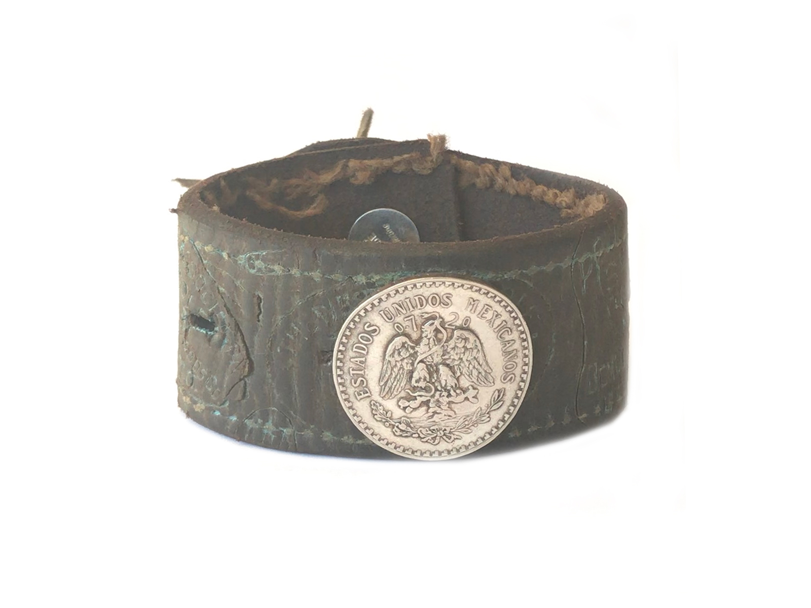 Leather Mexican Coin Bracelet