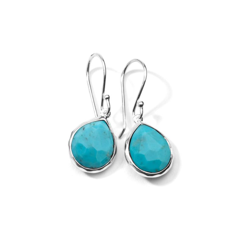 Mini Turquoise Teardrop Earrings in Sterling Silver