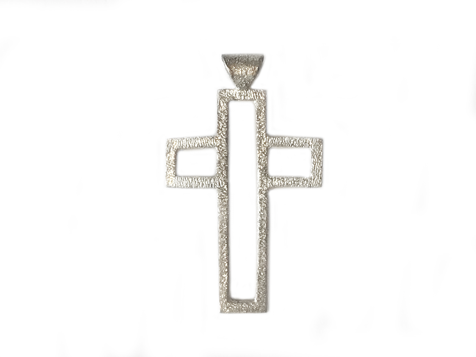 Hand Textured Silver Cross Pendant