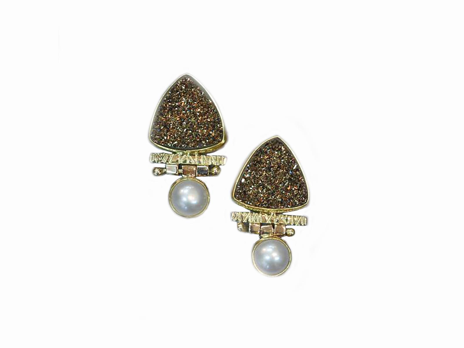 Moonbean Drusy Pearl Hinged Earrings