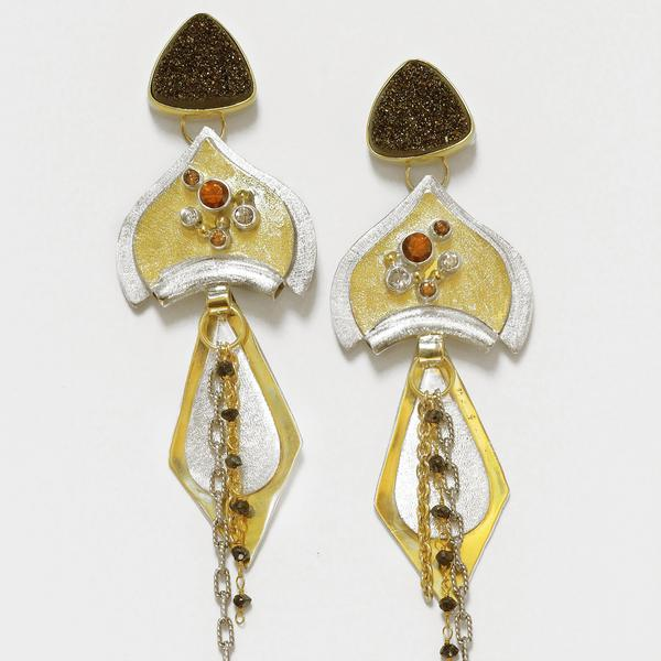 Moonbeam Drusy with Silver Gold Layered Earrings