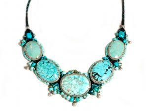 Macrame 5 Turquoise Stone Necklace