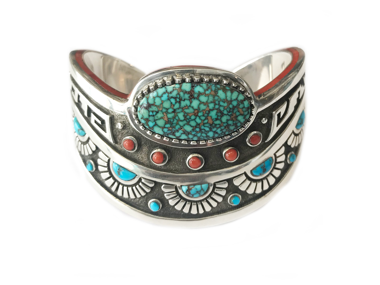 65a1c457dcf3 Indian Mountain Turquoise Coral Curved Cuff handmade by Michael Perry.