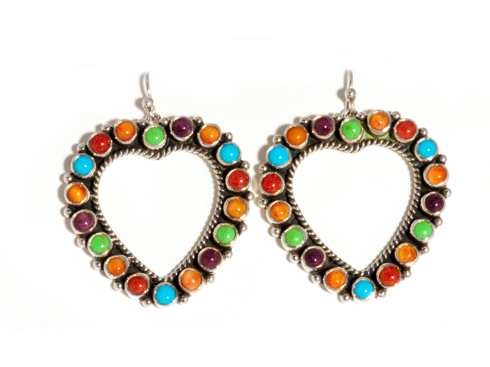 Multi-Stone Heart Earrings