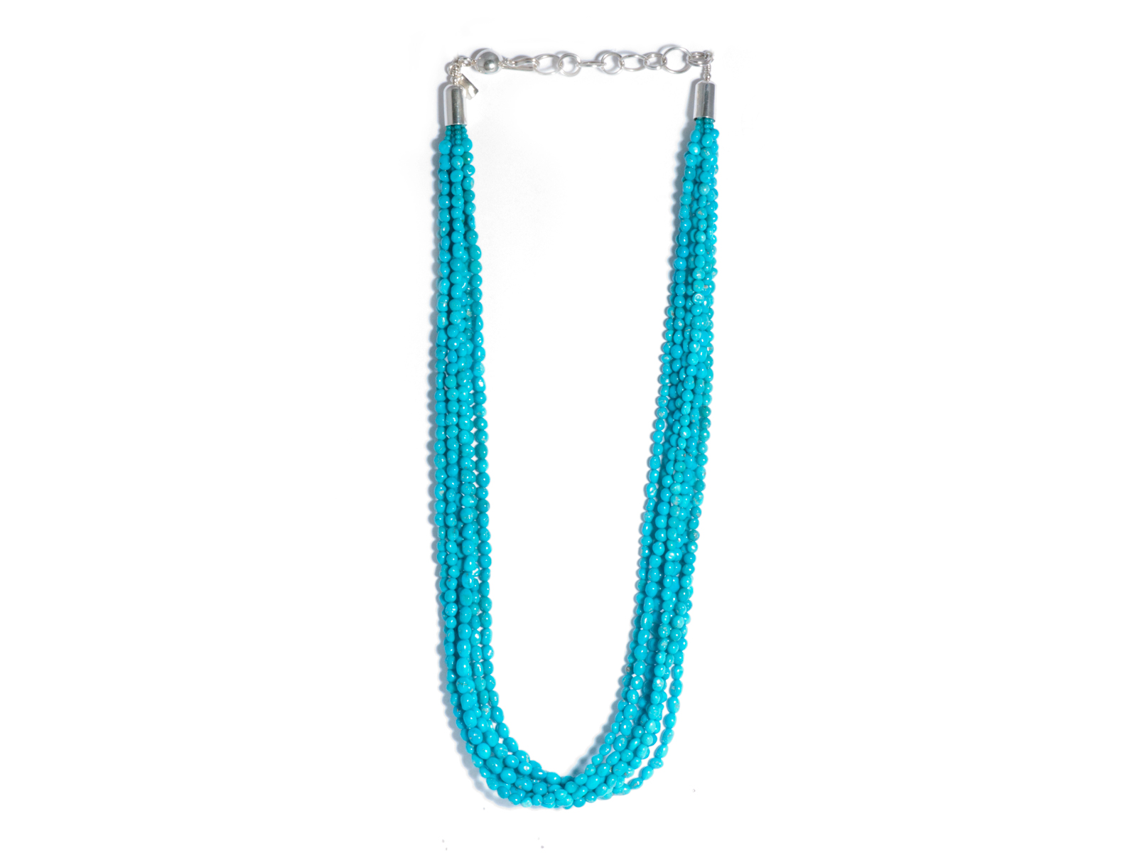 7 Strand Sleeping Beauty Turquoise Beaded Necklace
