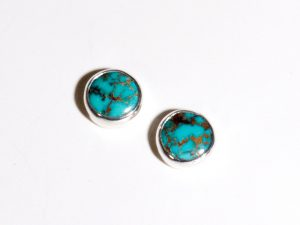 Sterling Silver Kingman Turquoise Round Stud Earrings