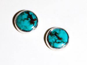 Natural Kingman Turquoise 12mm Round Stud