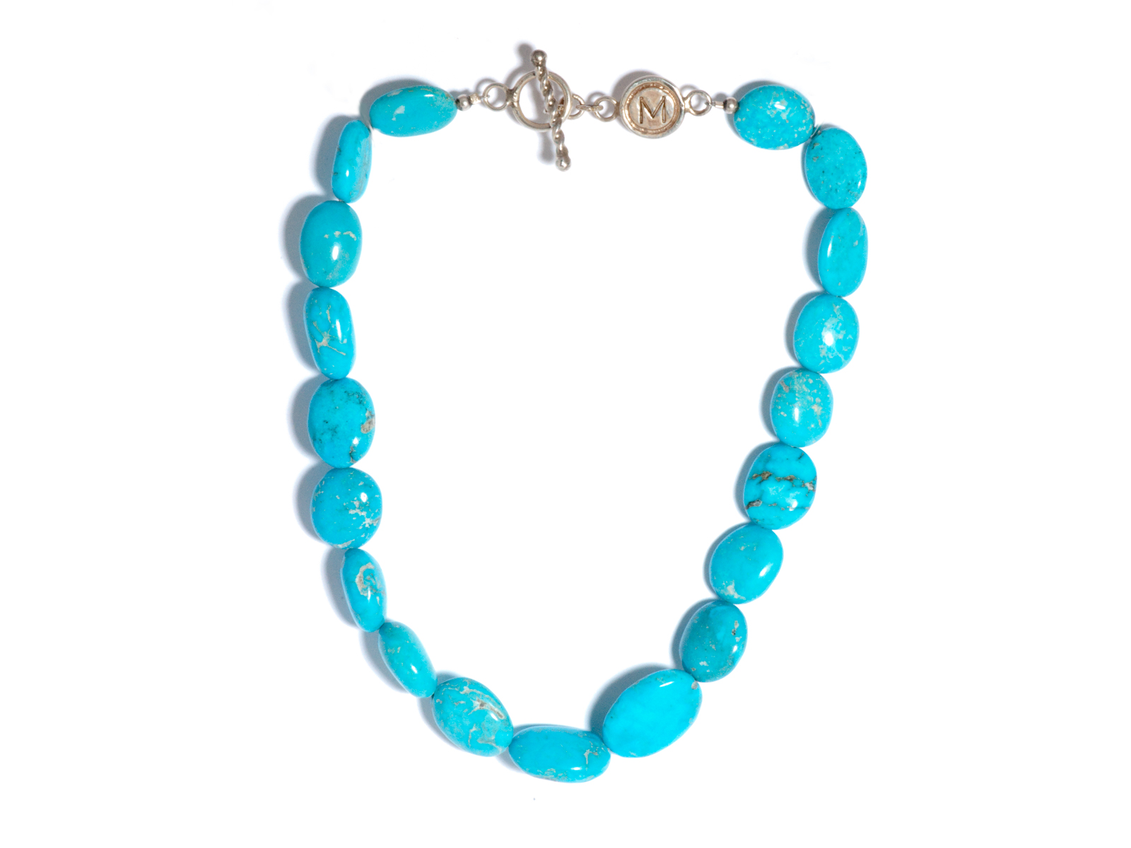 Large Natural Kingman Turquoise Bead Necklace