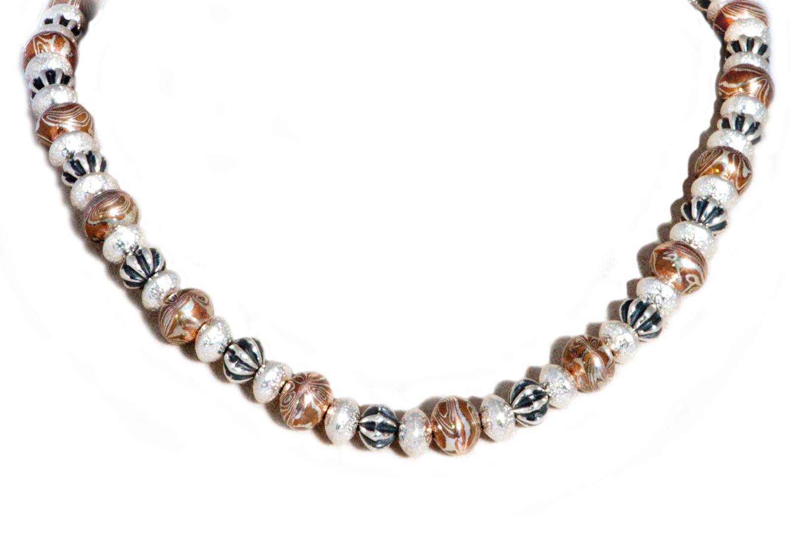Mokume Gane Silver Gold Navajo Pearl Necklace
