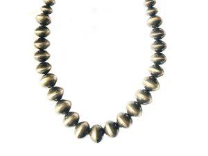 Oxidized Silver Navajo Pearl Necklace