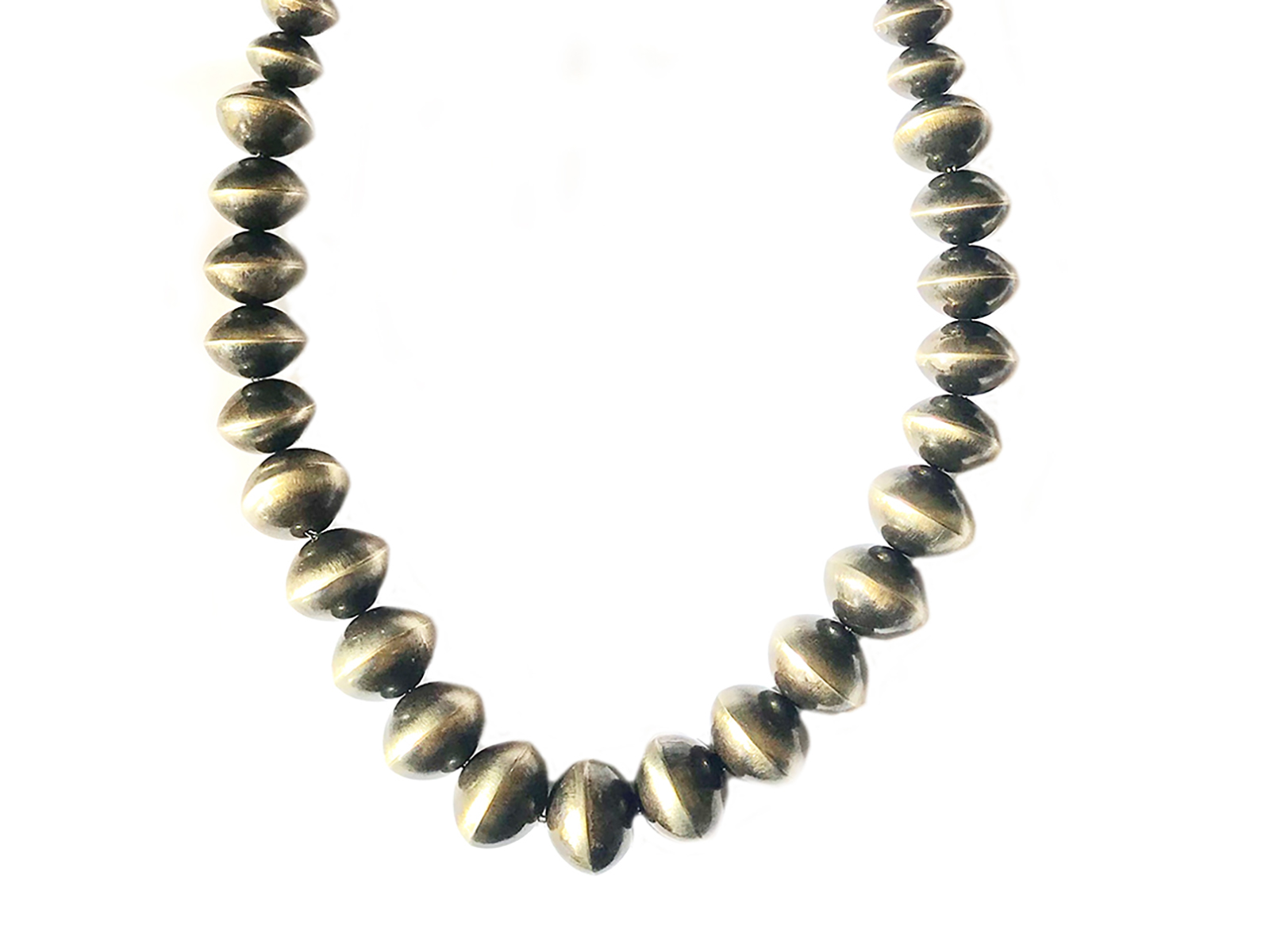 Graduated Oxidized Silver Navajo Pearl Necklace