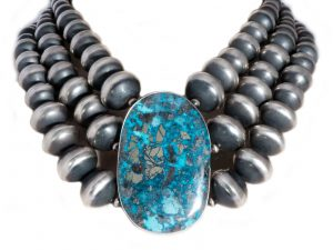 Morenci Turquoise 3 Strand Navajo Pearl Necklace