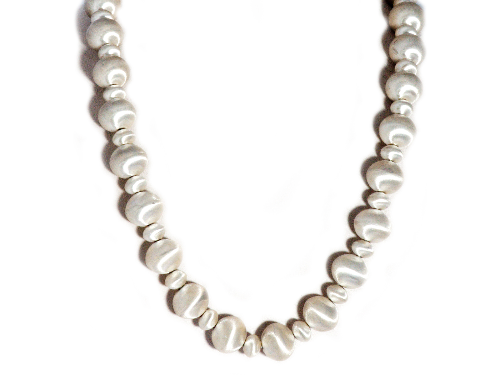 Etched Sterling Silver Navajo Pearl Necklace