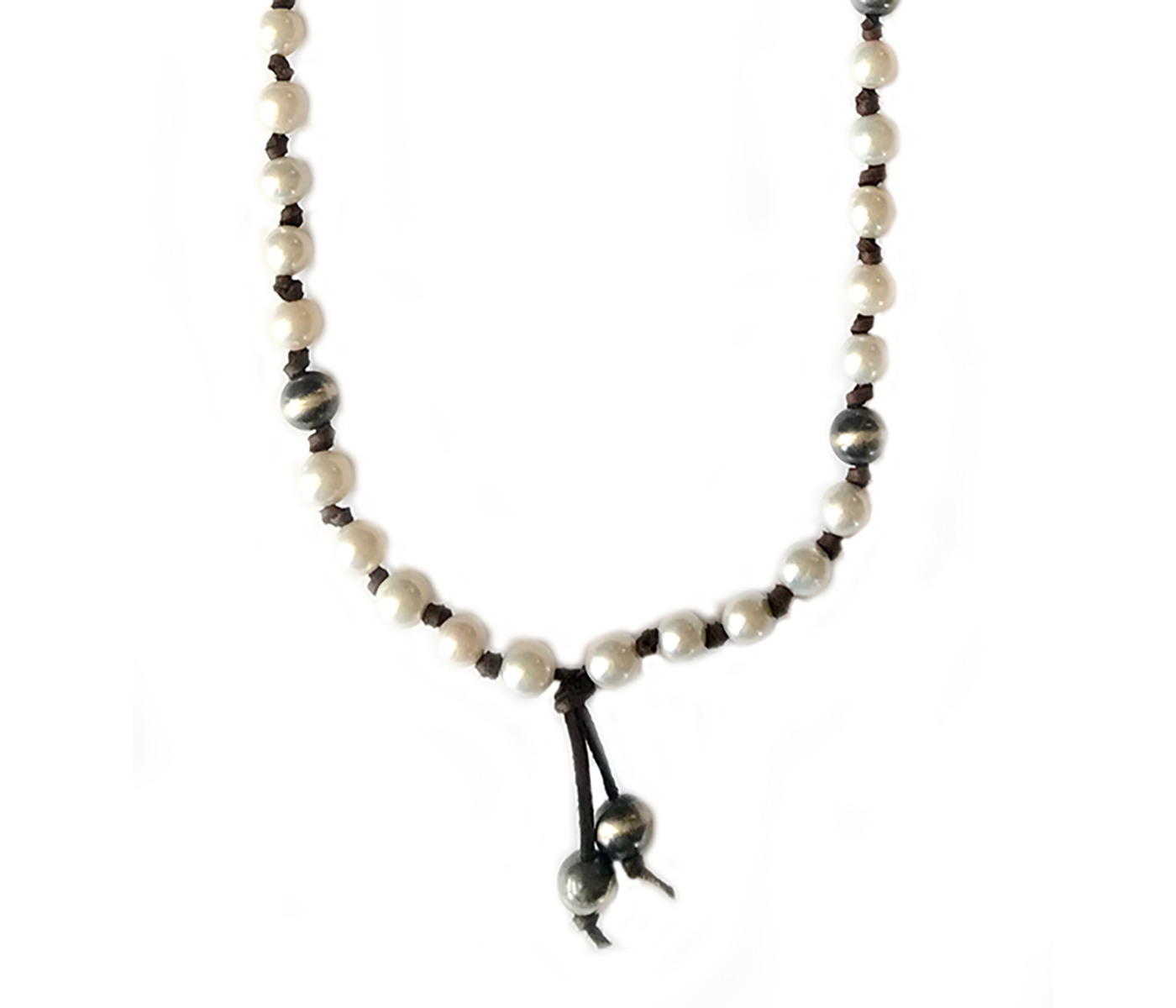 White Pearl Silver Beads Leather Necklace