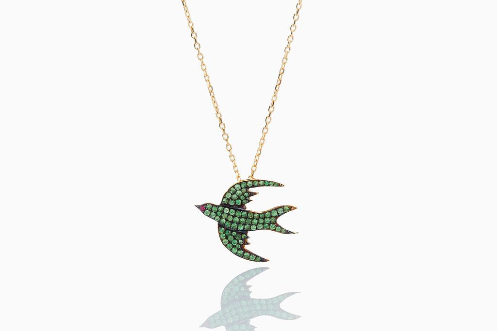 Green Bird Tsavorite Necklace