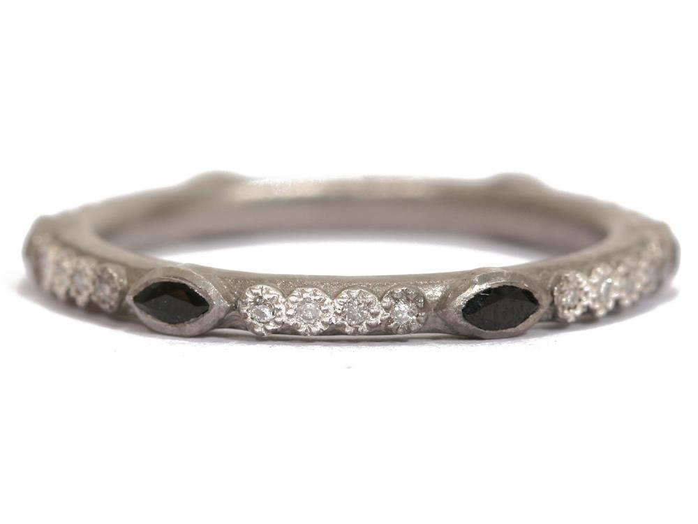 Blue Sapphire Diamond Stack Ring