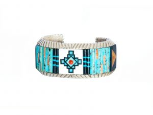 Multi-Stone & Sterling Silver Inlayed Cuff Bracelet