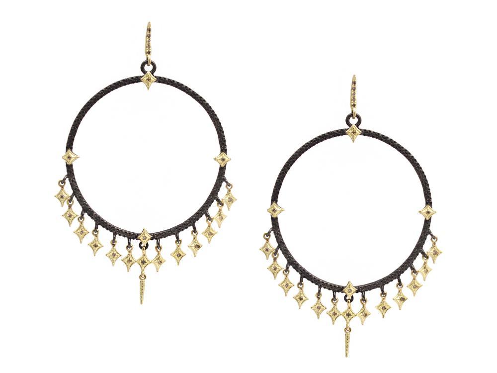 Gold Silver Crivelli Dagger Dangle Earrings