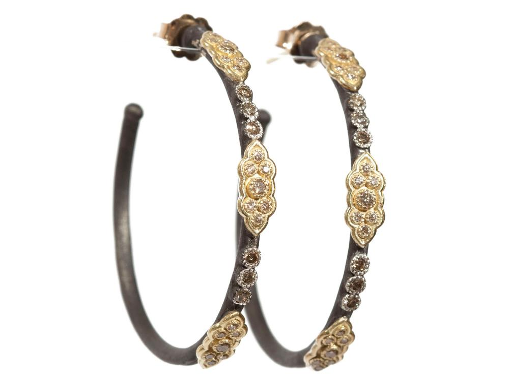 Medium Gold Silver Scroll Hoop Earrings