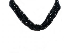 12 Strand Faceted Onyx Bead Necklace