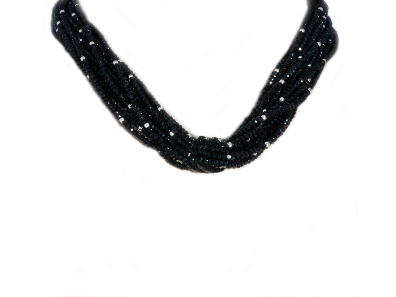 10 Strand Faceted Onyx Bead Necklace