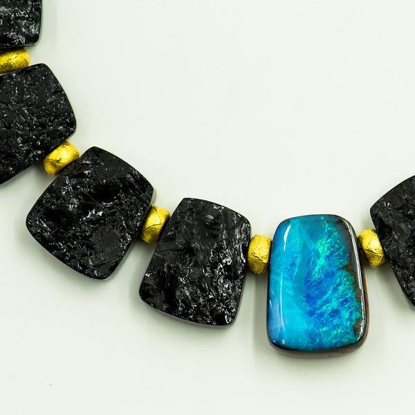 Opal Black Tourmaline Necklace