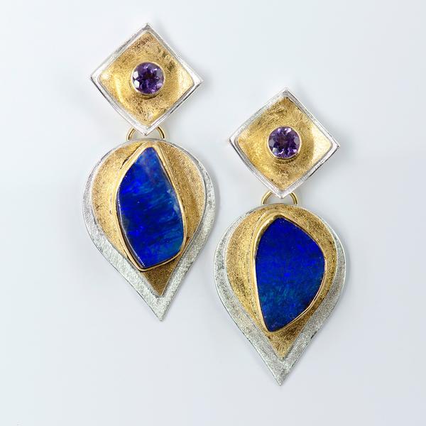 Amethyst Boulder Opal Bimetal Earrings