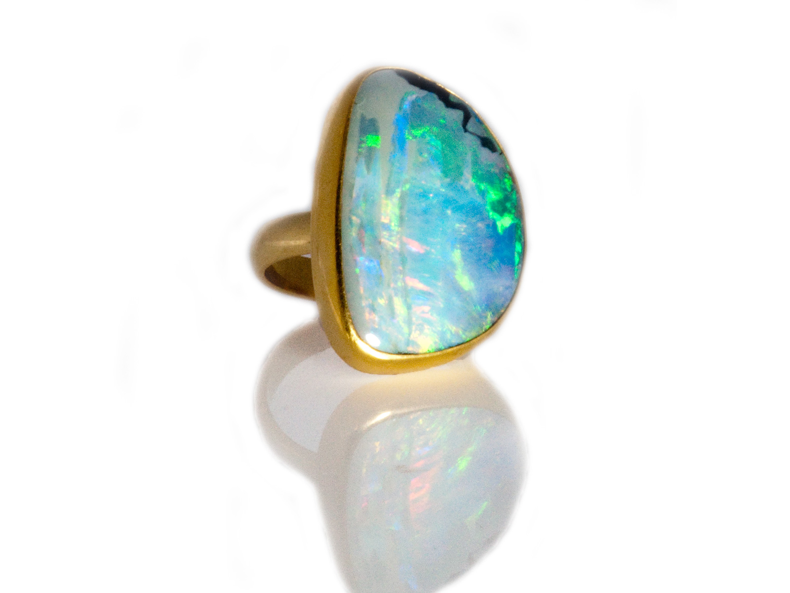 Boulder Opal Ring In 22k And 18k Gold By Jennifer Kalled