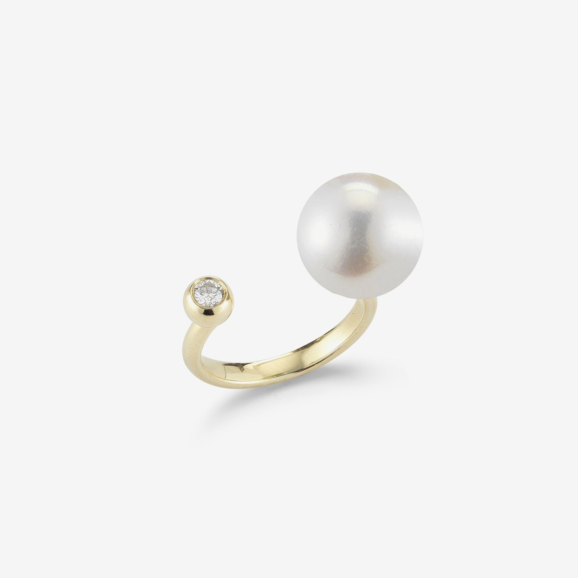 Open Diamond White Pearl Ring