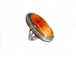 Orange Spiny Oyster Silver Ring