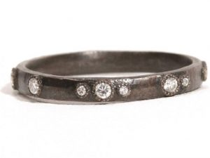 Small (.20cts) Old World scattered diamond stack ring.