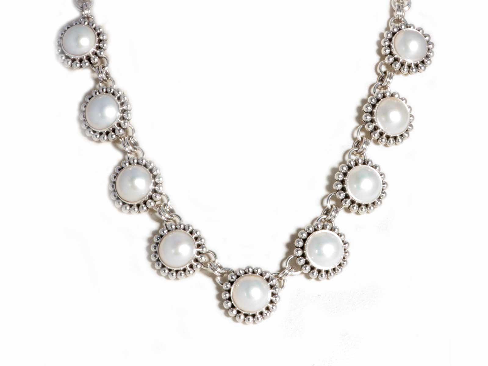 Sterling Silver 9 Pearl Necklace