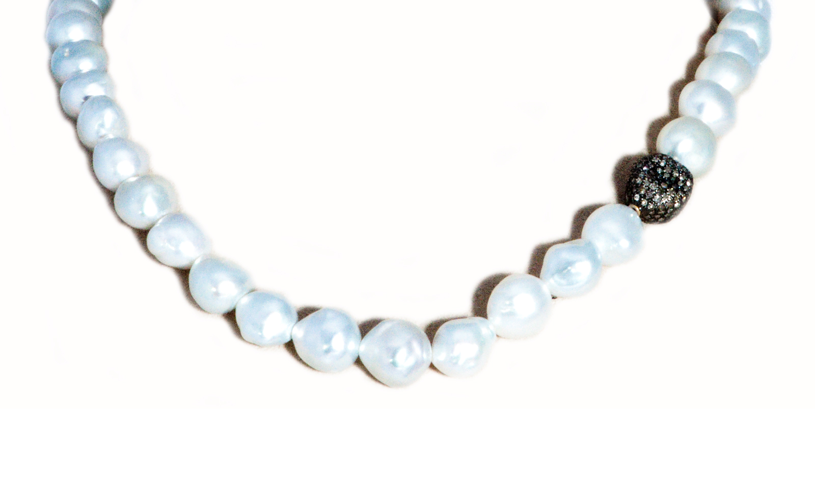 Pave Diamond White Pearl Necklace