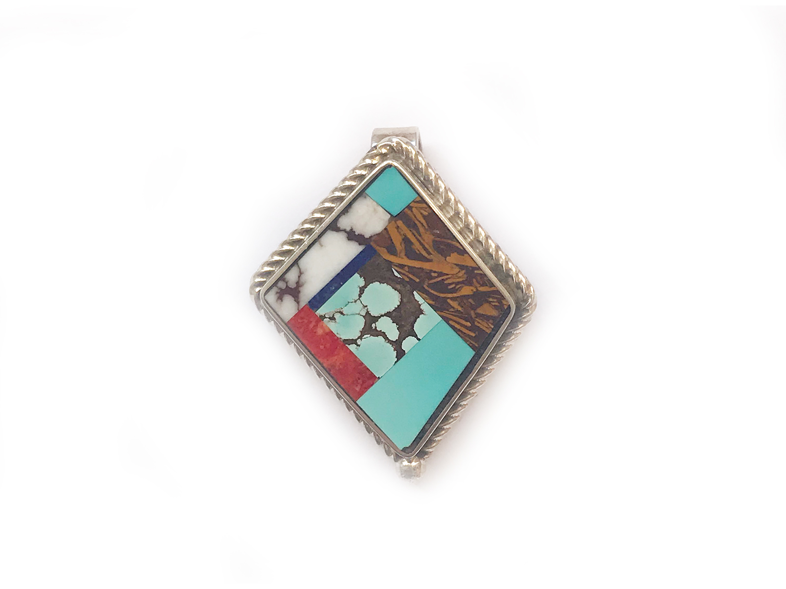 Multi Stone Inlay Pendant