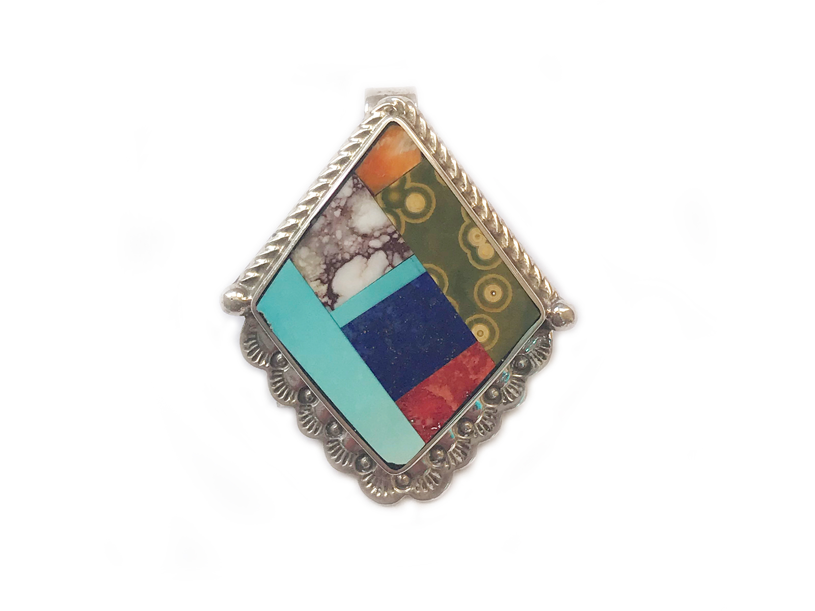 Inlay Multi Stone Pendant