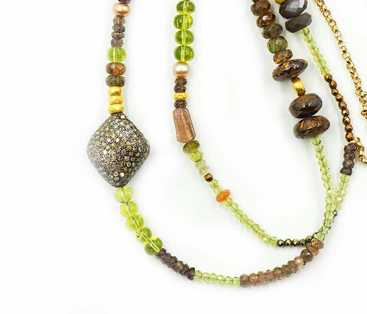 Multi Gem Stone Beaded Necklace