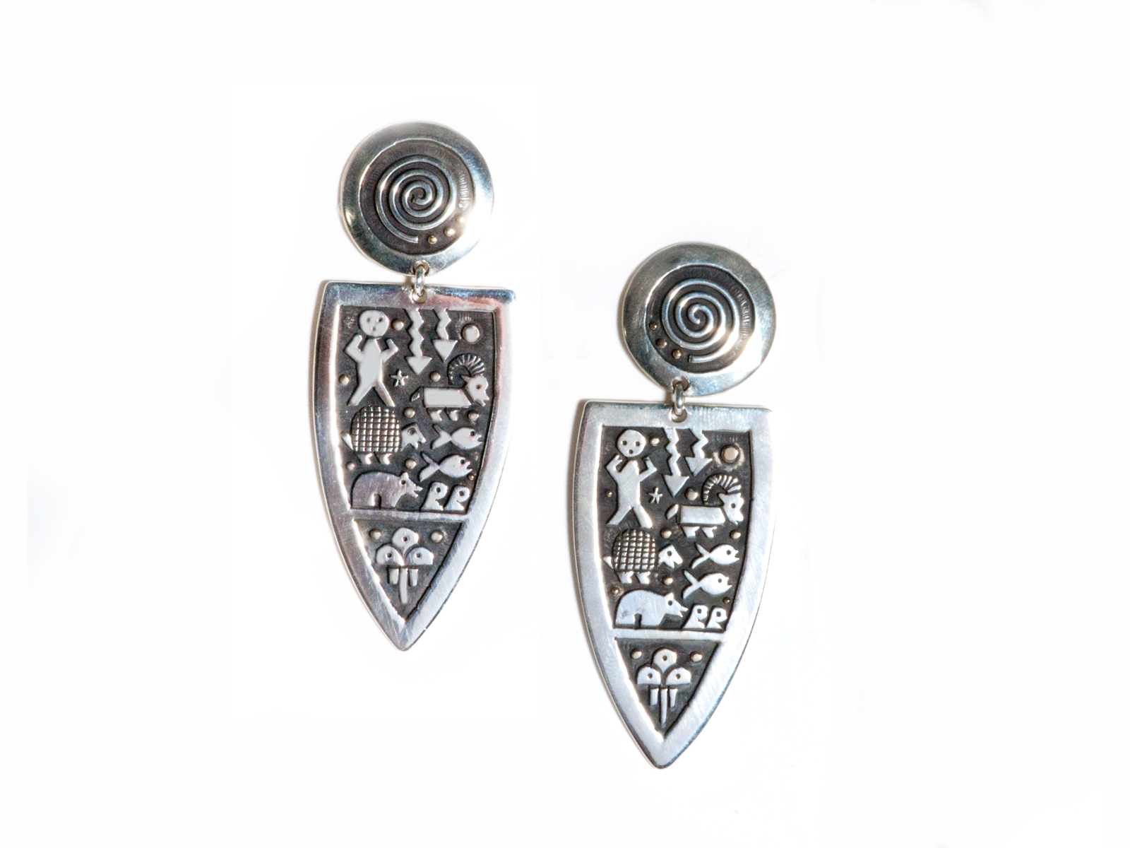 Sterling Silver Pueblo Scene Dangle Earrings