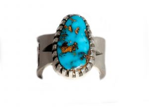 Petroglyph Ring with Candelaria Turquoise