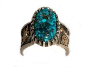 This Morenci Turquoise Petroglyph Ring