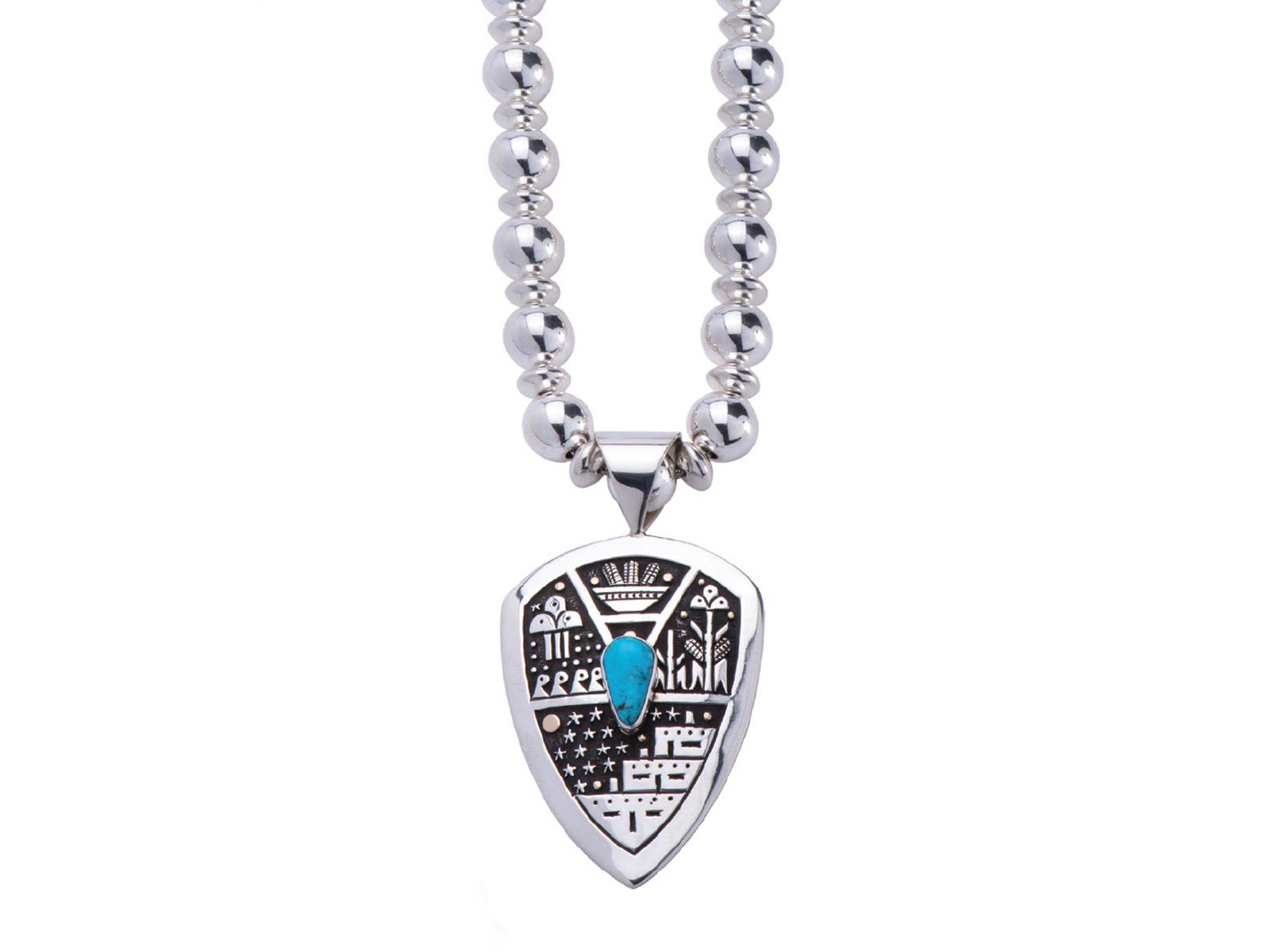 Silver Kingman Turquoise Pueblo Scene Necklace