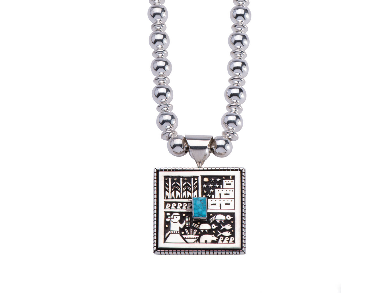 Santo Domingo Pueblo Scene Necklace
