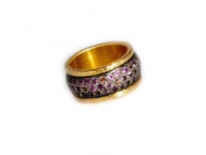 Pink Orange Sapphire Ring